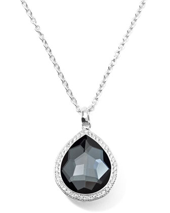 Stella Teardrop Necklace in Hematite & Diamonds 16-18