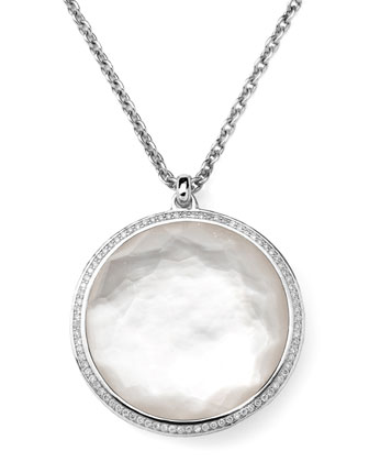 Stella Pendant Necklace in Mother-of-Pearl & Diamonds 16-18