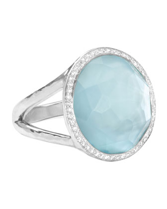 Stella Lollipop Ring in Blue Topaz & Diamonds, 0.23ct
