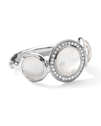 Stella 3-Doublet Ring in Mother-of-Pearl & Diamonds, .12 ct