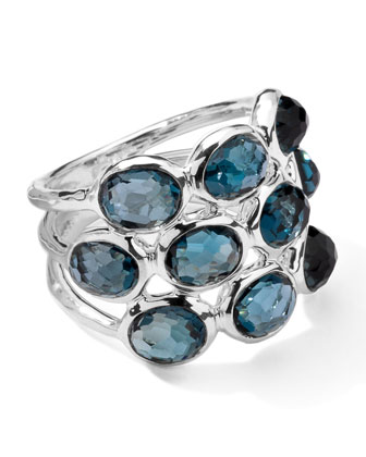 Sterling Silver Rock Candy 3-Row Ring in London Blue Topaz