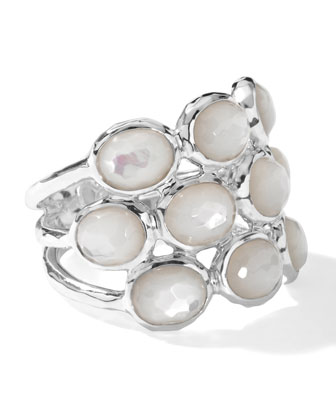 Sterling Silver Rock Candy 3-Row Ring in Mother-of-Pearl