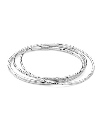 Sterling Silver Hammered Bangle Set of 3