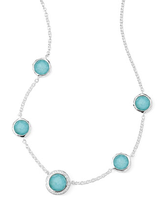 Stella Necklace in Turquoise Doublet & Diamonds 16-18