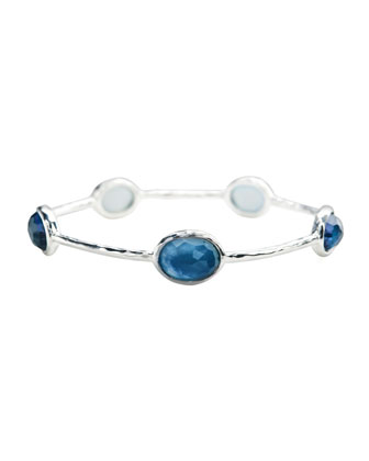 Sterling Silver Wonderland 5-Stone Bangle in Indigo