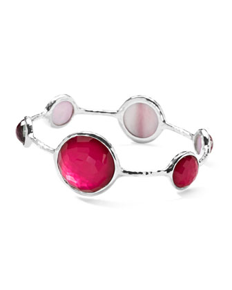 Sterling Silver Wonderland Lollipop Bangle in Raspberry