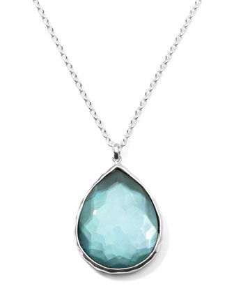 Wonderland Silver Large Teardrop Pendant Necklace, Denim