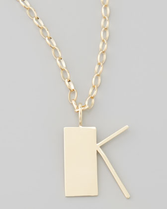 Letter Charm Necklace, K