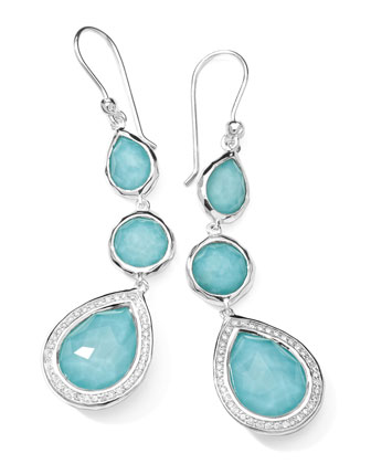 Stella 3-Drop Earrings in Turquoise & Diamonds