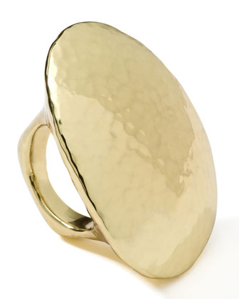 18K Gold Glamazon Hammered Long Ring