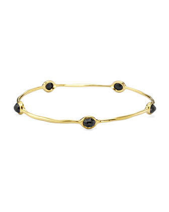18K Gold Rock Candy 5-Stone Lollipop Bangle in Black Onyx