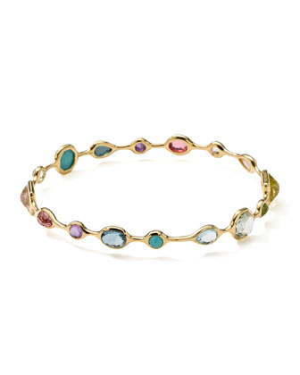 18k Gold Rock Candy Open Gelato Bangle, Multi