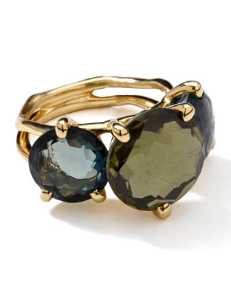 18k Gold Rock Candy Gelato 3-Stone Ring, Tartan