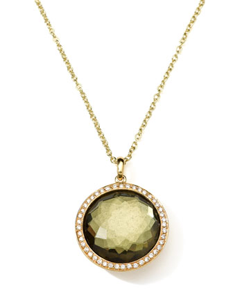 18K Gold Rock Candy Lollipop Necklace in Pyrite & Diamonds