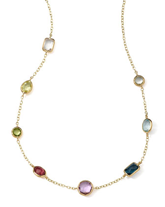 18k Gold Rock Candy Mini Gelato Station Necklace in Multi, 16-18