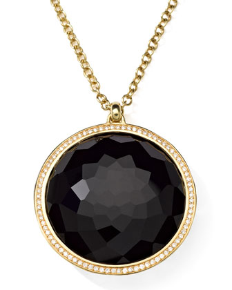 18K Gold Rock Candy Large Lollipop Necklace in Onyx & Diamonds