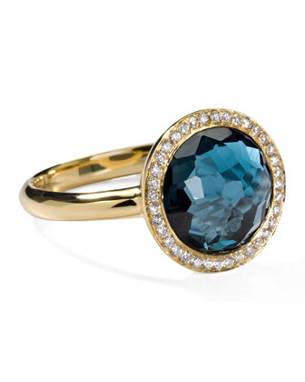 18k Gold Rock Candy Mini Lollipop Ring in London Blue Topaz & ...