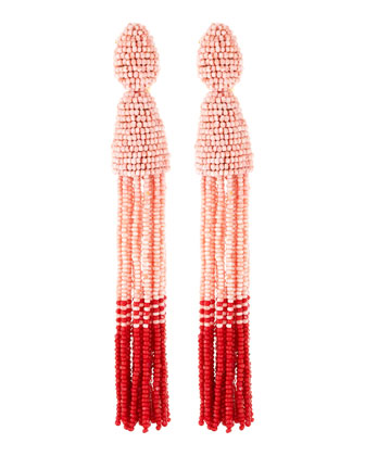 Long Beaded Tassel Clip-On Earrings, Blush/Red