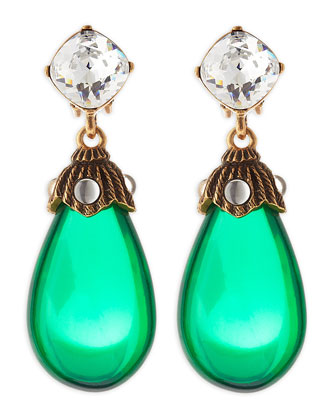 Crystal Resin Drop Clip-On Earrings, Kelly Green