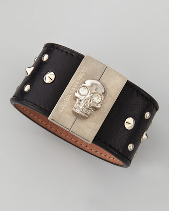 Skull-Clasp Studded Leather Cuff, Black