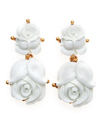 Resin Rose Clip Earrings