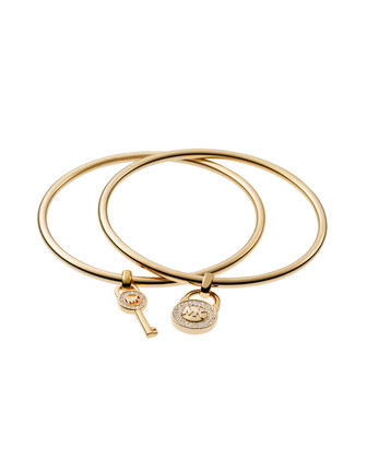 Padlock/Key Charm Bangle Set, Golden