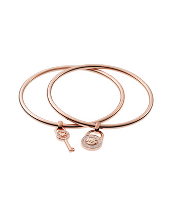 Padlock/Key Charm Bangle Set, Rose Golden