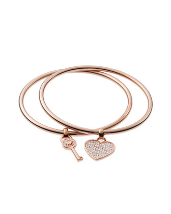 Heart/Lock Charm Bangle Set, Rose Golden