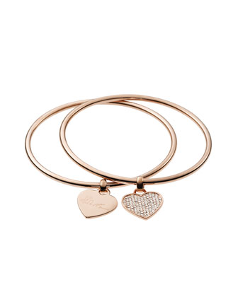 Heart Charm Bangle Set, Rose Golden