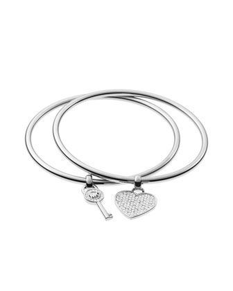 Key/Heart Charm Bangle Set, Silver Color