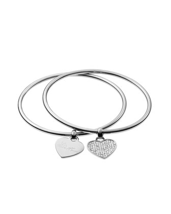 Heart Charm Bangle Set, Silver Color