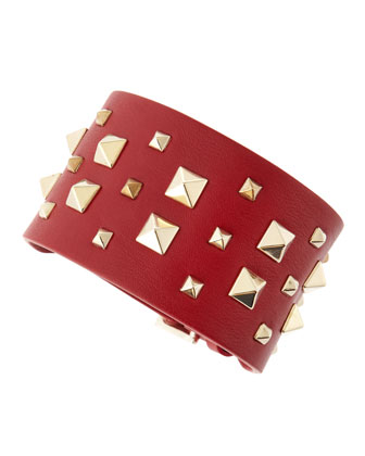 Wide Multi Rockstud Cuff, Red