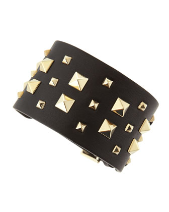 Wide Multi Rockstud Cuff, Black