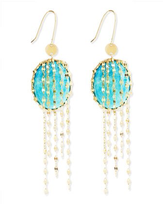 Turquoise Chain-Cascade Earrings