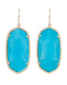 Large Pave-Trim Drop Earrings, Turquoise