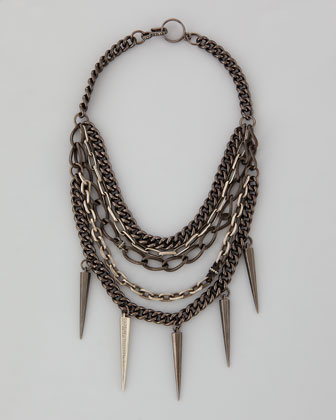 Mixed-Chain Spike Collar Necklace