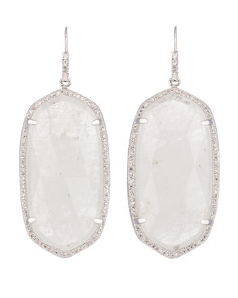 Large Pave-Trim Rock Crystal Drop Earrings