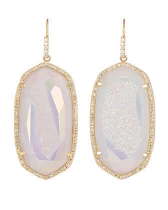 Large Pave-Trim Druzy Drop Earrings