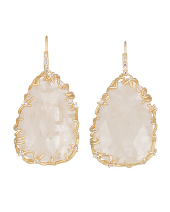Large Branch-Bezel Rock Crystal Drop Earrings