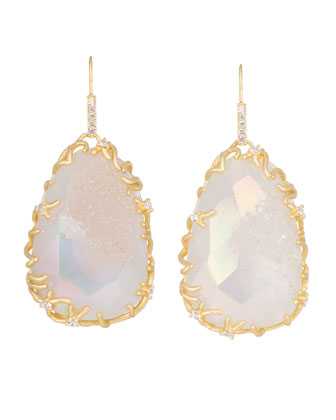 Large Branch-Bezel Druzy Drop Earrings
