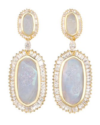 Baguette-Trim Oval Druzy Drop Earrings