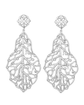 Pave CZ Branch Hourglass Earrings, Rhodium Plate