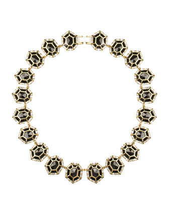 Baguette-Trim Black Tourmaline Collar Necklace