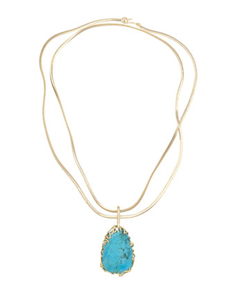 Branch-Bezel Pendant Necklace, Turquoise