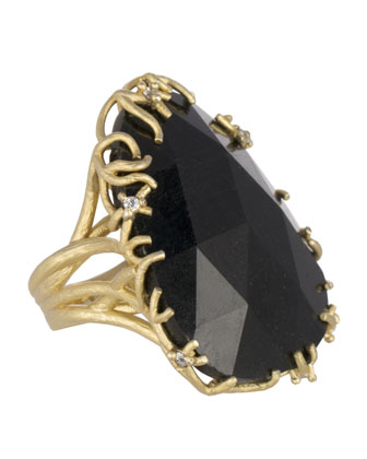 Large Branch-Bezel Black Tourmaline Ring