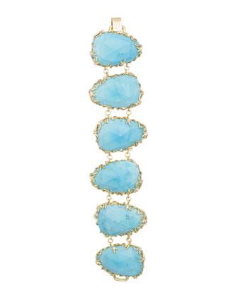 Branch-Bezel Bracelet, Turquoise