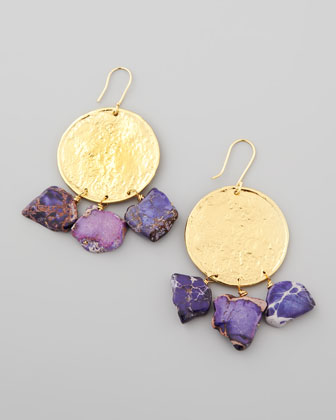22k Yellow Gold Plate & Violet Jasper Drop Earrings