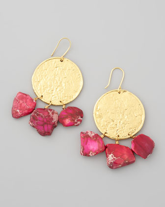 22k Yellow Gold Plate & Pink Jasper Drop Earrings