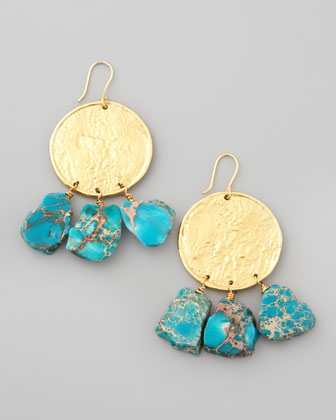 22k Yellow Gold Plate & Turquoise Jasper Drop Earrings