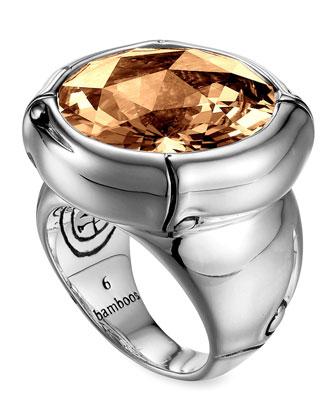 Batu Bamboo Silver Cognac Ring